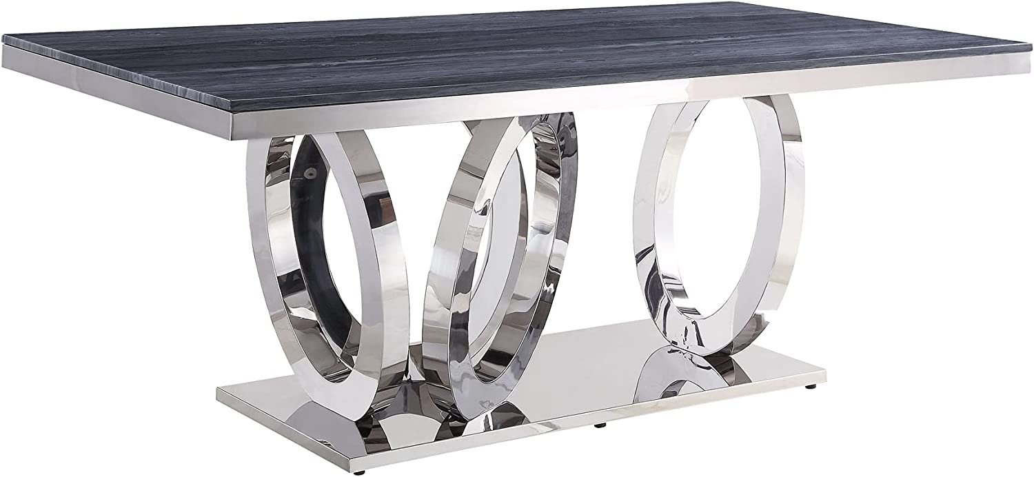 2021new shipping free HSJWOSA Engineered List price Dining Table Gray Faux Marble Printed Mirr