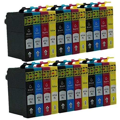 Juego de 6 Cartuchos de Tinta de Repuesto para Epson Stylus SX410 SX415 SX510 SX515 SX515,6 W SX215 SX218 SX400 SX405 SX405 (6 Cartuchos de Tinta Negra, 6 Amarillos)