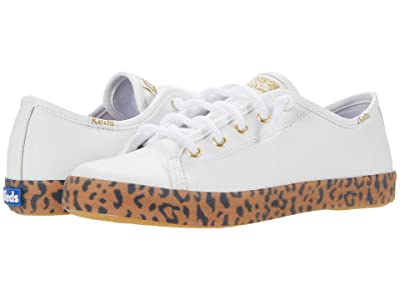 Keds Kids Kickstart Seasonal (Little Kid/Big Kid) (White/Leopard) Girl