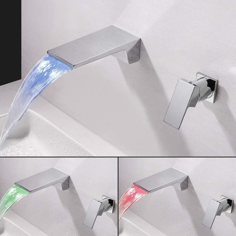 JONTON LED-Einzelgriff Doppel-Steuerung quadratische Waschbecken Wasserhahn Wasserfall Split in die Wand Grünckt Temperaturregelung Farbwechsel Waschbecken Wasserhahn