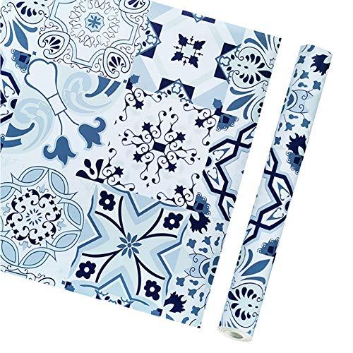 Papel Pared Autoadhesivo Azul Vintage Vinyl Auto-Adhesivo de la baldosa cerámica del Papel Pintado Floral del Rollo Mural for el Dormitorio (Color : A, Size : 0.45x10m)