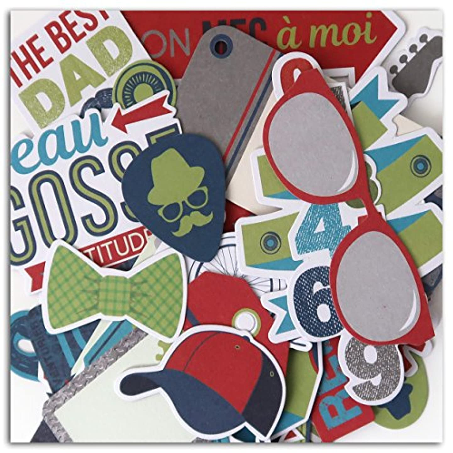 Toga Male Pack of 44?fpd143?100% Paper Die Cut Shapes and Words 15.5?x 8.5?x 1?cm Blue/Grey/Green/Red
