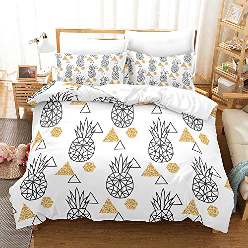 Linen_specialist Duvet Cover Set Pineapple Pattern Printed,3 Pieces Microfiber Kids Bedding Set with Zipper Closure and Corner Ties for Boys Girls, Queen Size