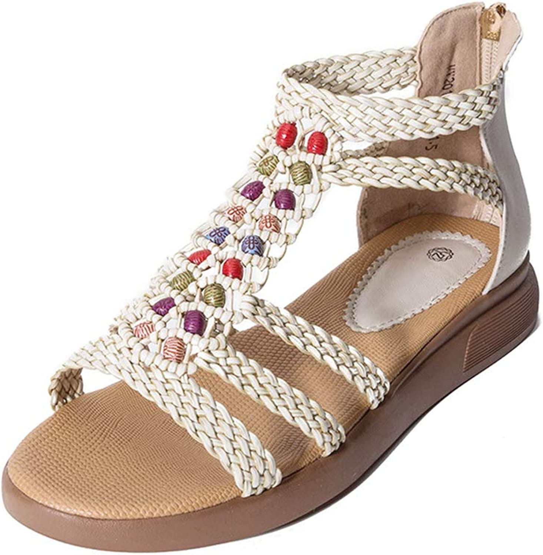 Women Sandals Retro Sandals with Flat shoes, for Women Plus Size 43 Summer Sandals, Women Summer shoes Female Flat Sandals,Apricot,7.5US