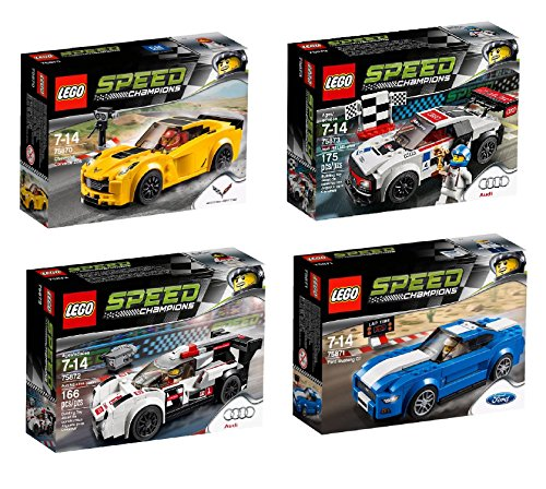 LEGO New for 2016 Speed Champions 4 Set Bundle - Chevrolet Corvette Z06 75870, Ford Mustang GT 75871, Audi R18 e-tron Quattro 75872 & Audi R8 LMS Ultra 75873 by LEGO