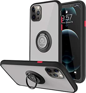 WHOBEE Designed for iPhone 12 Pro Max Case with Ring Holder,Anti-Scratch Shockproof Protective Case with 360 Degree Rotation Finger Ring Kickstand [Fit Magnetic Mount] for iPhone 12 Pro Max 6.7