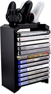 Hyperia PS4 Games Charger Storage Tower, Playstation 4 Controller Dual Charging Dock Station & Multifunctional Vertical St...