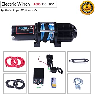 OCPTY Winches Waterproof Offroad 4500 lbs Load 12V Electric Winch with Clevis Hook+Aluminum Fairlead+Control Box+Wireless Remote Control+Switch Assembly+Negative/Positive Wire+Bolts+Instruction Manual