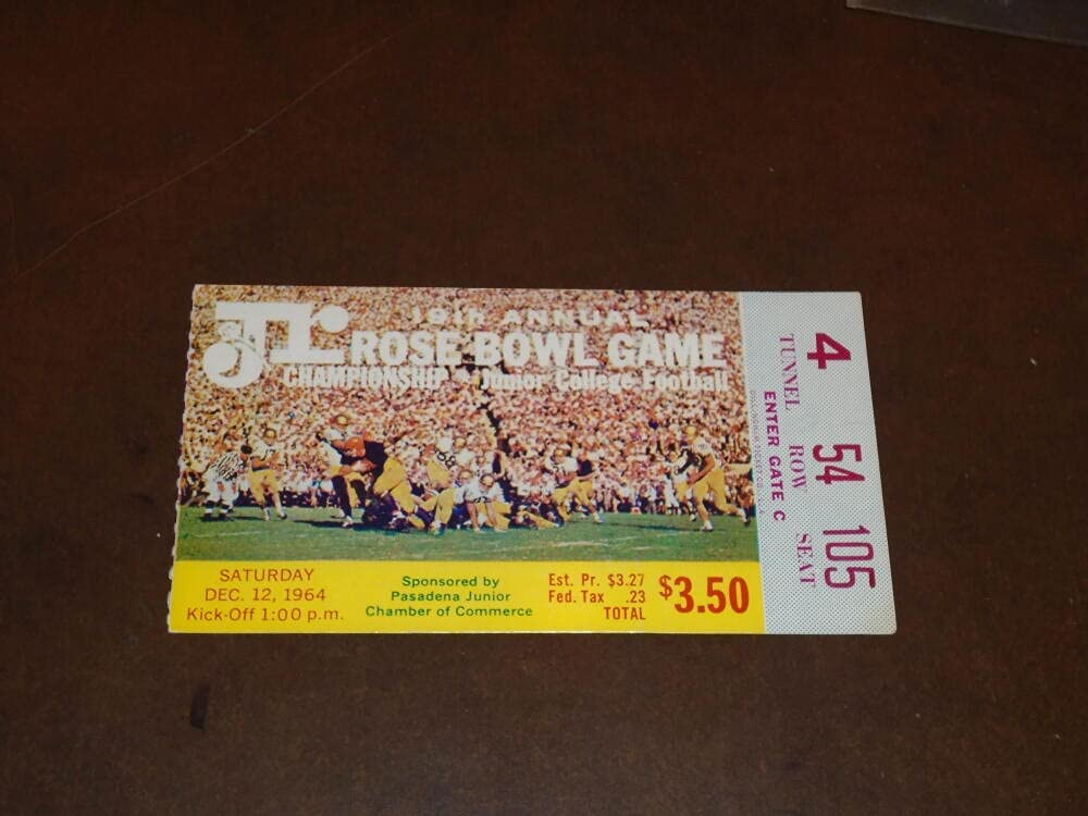 1964 JR Fashion ROSE BOWL FOOTBALL TICKET CITY STUB V BEACH Special price for a limited time LONG COLLEGE
