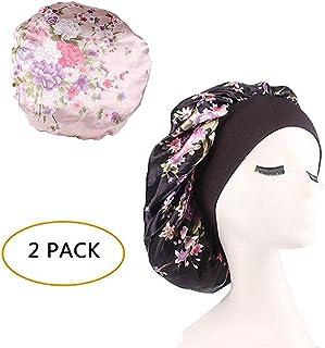 fd1cfb63988 Silk Wide Band Bonnet Night Sleep Cap Sleeping Head Cover for Women Girls  (Black Floral