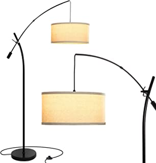 Brightech Grayson Arc Floor Lamp - Tall, Standing Lamp Over The Living Room Couch – Adjustable Cantilever Arm - With LED Bulb – Black