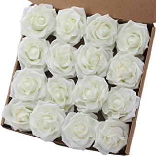 Breeze Talk Artificial Flowers 16pcs 4'' Artificial Avalanche Roses Ivory Fake Roses Large Rose Bloom Head for DIY Wedding Bouquets Arrangements Centerpieces Décor (Ivory)