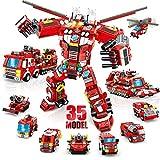 LUKAT Roboter Bausteine Spielzeug für Jungen 6 7 8 9 10 Jahre 836 Teile Konstruktionsspielzeug 35-in-1 STEM Gebäude Lernspielzeug Feuerwehrauto Baukasten Pädagogisches Geschenk für Jungen und Kinder