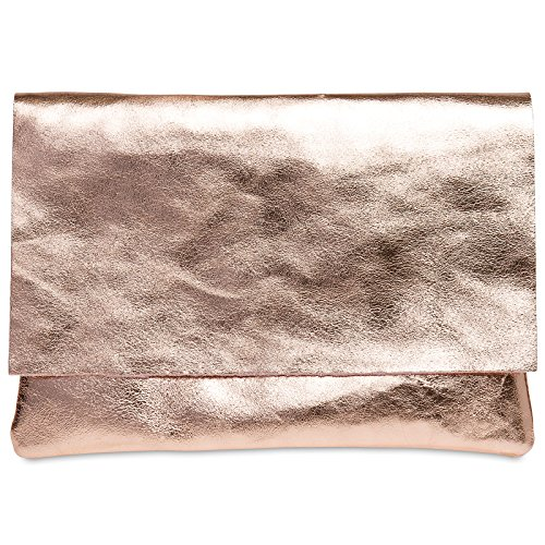 Caspar TL770 große Damen Metallic Envelope Leder Clutch Tasche Abendtasche, Größe:One Size, Farbe:roségold