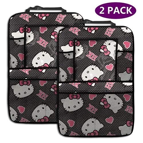 TBLHM Hello Kitty Lot de 2 Sacs de Rangement pour siège arrière de Voiture Noir et Blanc