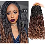 6 packs Gypsy Locs Crochet Goddess Faux Locs Ombre Curly Wavy Locs Twist Braiding Hair Extensions Dreadlocks Hair 18 inches for Braiding 18 Strands Per Pack(Black/Dark brown/Light brown)
