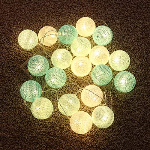 Osaladi - Guirnalda de luces LED de hilo de algodón para decoración de boda, fiestas, dormitorios, cumpleaños, (3 m, 20 luces LED, verde menta)