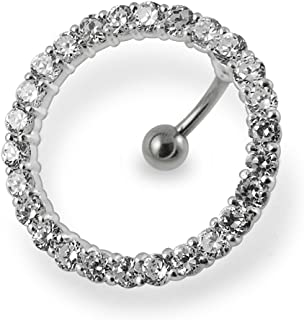 AtoZ Piercing Fancy Big Circle Around Belly 925 Sterling Silver with Stainless Steel Belly Button Rings