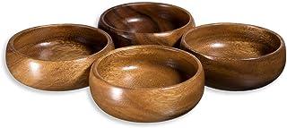 """Acacia Wood Hand-Carved Set of 4 Calabash Bowls 4"""""""
