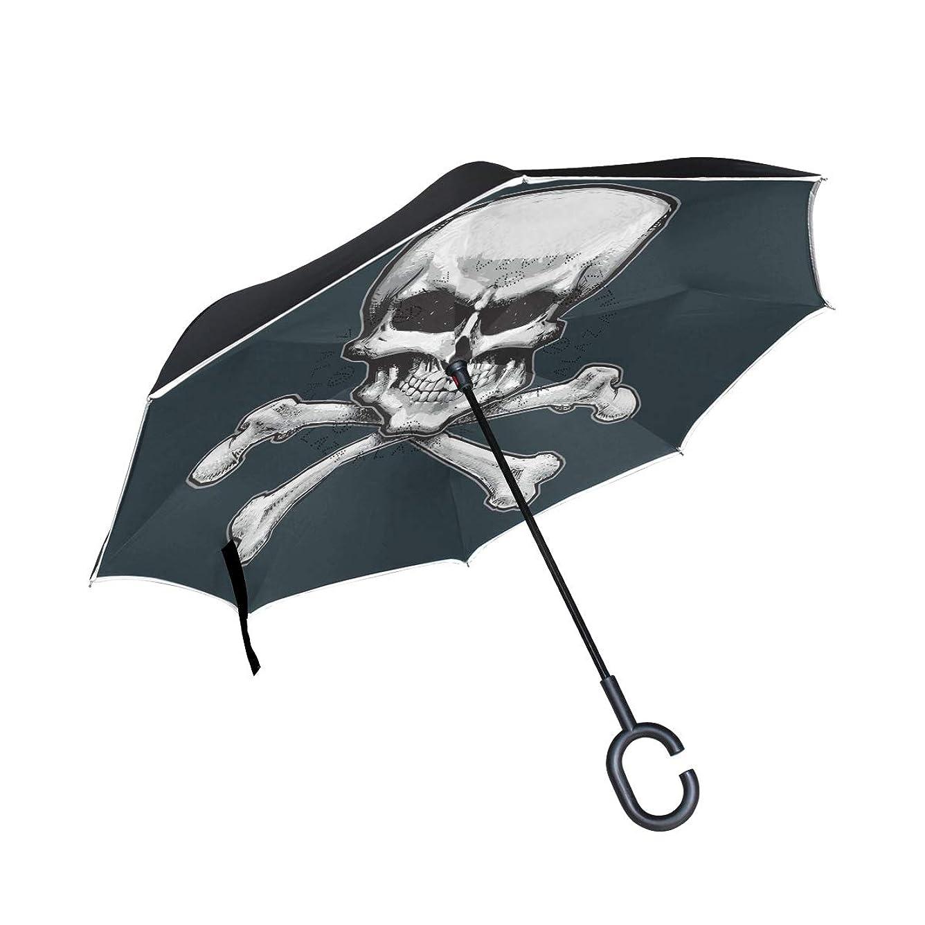 グローバル手綱せせらぎLUYISI 逆さ傘 長傘 逆折り式傘 スカル 髑髏柄 自立傘 UVカット 撥水 耐風 晴雨兼用 手離れC型手元 日傘 ビジネス 車用 124センチ