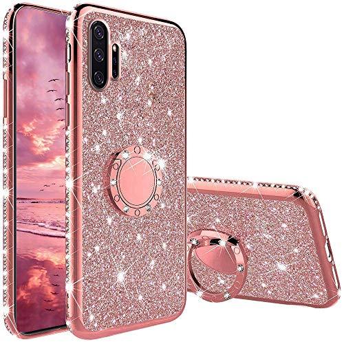 Funda para Samsung Galaxy Note 10 Plus, Glitter Brillante Diamante con 360 Grado Anillo Kickstand Ultra Delgada Premium Fina Resistente Silicona TPU Doble Capa Anti Choques Protectora Carcasa