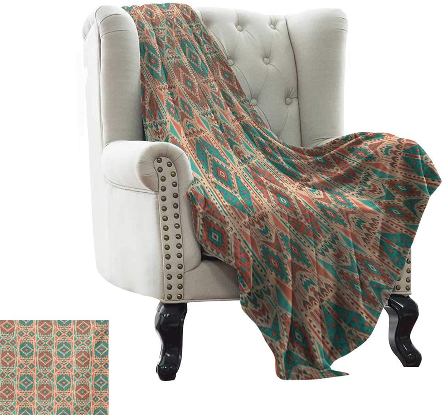Lightweight Blanket Mexican Vintage Pastel Toned Geometric Composition American Motifs Print Summer Quilt Comforter W35 x L60 Inch Pale Sea Green Coral Dark Coral