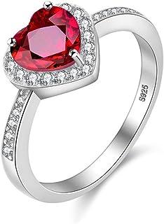 Uloveido للنساء 2.4 جرام 925 الفضة الاسترليني 0.8 قيراط أحمر العقيق الطبيعي خاتم زفاف CJ007