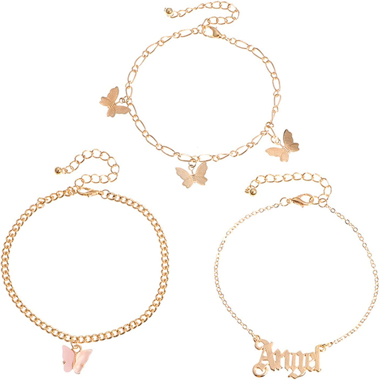 3Pcs Women Butterfly Letter Charm Anklet Beach Foot Chain Ankle Bracelet Jewelry,Ankle Bracelets for Women Teen Girls Beach Jewelry Gifts