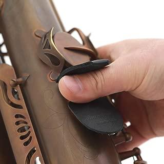 CIELmusic Saxophone Thumb Rest Cushion, Saxophone Thumb Pad, Saxophone Thumb Protector, Alto/Tenor Saxophone, Soft Durable Leather, Handmade, black
