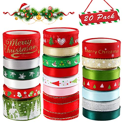 20 Pieces 3 Size Christmas Ribbons for Craft Holiday Printed Grosgrain Organza Satin Ribbons Metallic Glitter Fabric Ribbons Bulk Gift Wrapping Bow