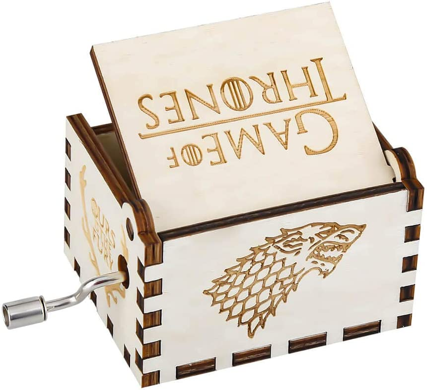 Wooden Music Boxes Theme Game of Thrones Hand Crank Antique Retro Carved Wood Musical Box White 18 Note Mechanism Home Decoration Vintage Classic Gifts for Kids Children Boyfriend Son Boys