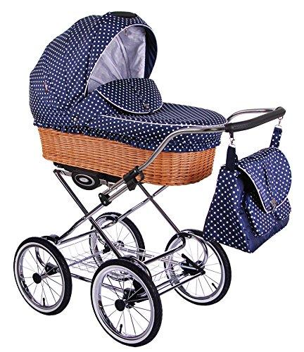 Classico Retro - Ein Luxus, Nostalgie Kinderwagen - Kombikinderwagen mit Weidenkorb, Komplettset de luxe 2 in 1: Kinderwagen + Sportwagenaufsatz + Autositzadapter