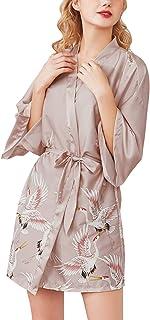 45,52 Inch Dolamen Mujer Vestido Kimono Sat/én Largo Busto 108 cm Lujoso Robe Albornoz Dama de Honor Ropa de Dormir Pijama Cord/ón Camis/ón para Mujer