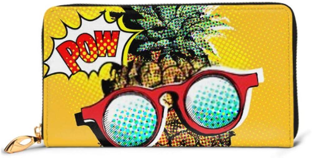 Fashion Handbag Zipper Wallet Pop Art Comic Poster Image Pine Phone Clutch Purse Evening Clutch Blocking Leather Wallet Multi Card Organizer