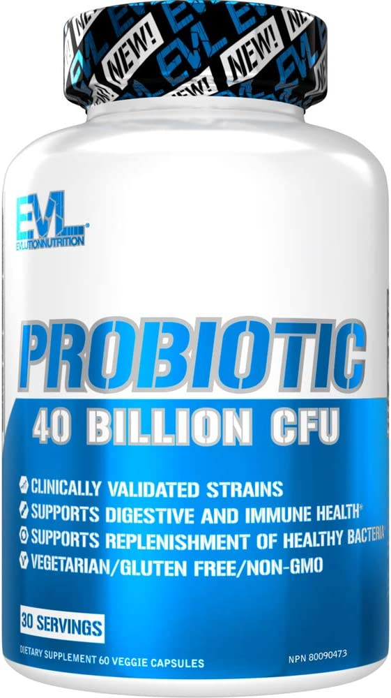 Evlution Nutrition Probiotic - 60 Probiotic Veggie Capsules - 40 Billion CFUs per Serving - Easy to Swallow Probiotic Supplement