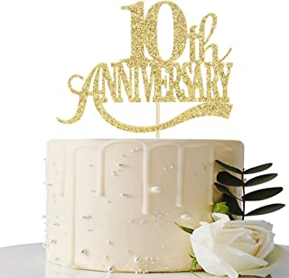 Gold Glitter 10th Anniversary Cake Topper - for 10th Wedding Anniversary / 10th Anniversary Party / 10th Birthday Party Decorations