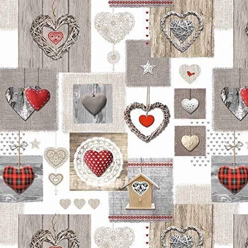 Wachstuch Tischdecke abwaschbar Gartentischdecke Meterware Herzen Rustikal Grau Rot Beige Fantastik 8068-1 (Rund 140 cm)