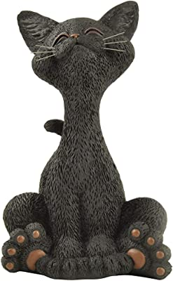 JFSM INC. Halloween Decoration Black Cat Smiling Figurine - Whimsical Smiling Cat Statue - Happy Cat Collection