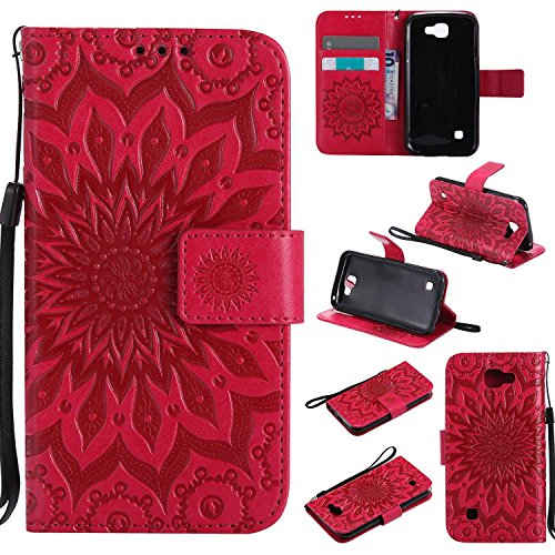 pinlu® PU Leder Tasche Etui Schutzhülle für LG K3 3G K100 (4,5 Zoll) Lederhülle Schale Flip Cover Tasche mit Standfunktion Sonnenblume Muster Hülle (Rot)