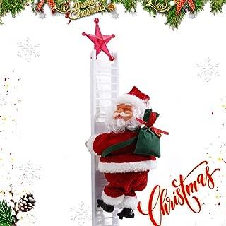 Puroregno Electric Climbing Ladder Rope Santa Claus Doll Christmas Figurine Ornament Santa Climbing Ladder to Tree