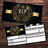 V.I.P EINLADUNG Kartenset XL (24 Stück) Premium Einladungskarten zum Ausfüllen - edel in Schwarz & Gold ideal für VIP Party, Silvester, Einweihung, Kinder-Geburtstag für Jungen, Mädchen & Erwachsene - 5