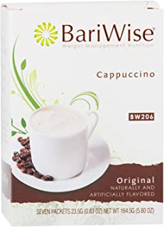 BariWise High Protein Powder Hot Drink/Instant Low-Carb Cappuccino Mix (15g Protein) – Original (7 Servings/Box) - Low Calorie, Low Carb, Low Fat, Aspartame Free