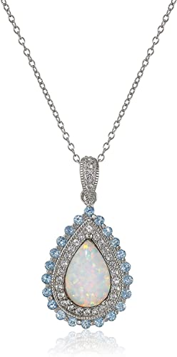 Rhodium-Plated Sterling Silver Created Opal, Blue Topaz, and Created White Sapphire 3-prong setting Pendant, 18″