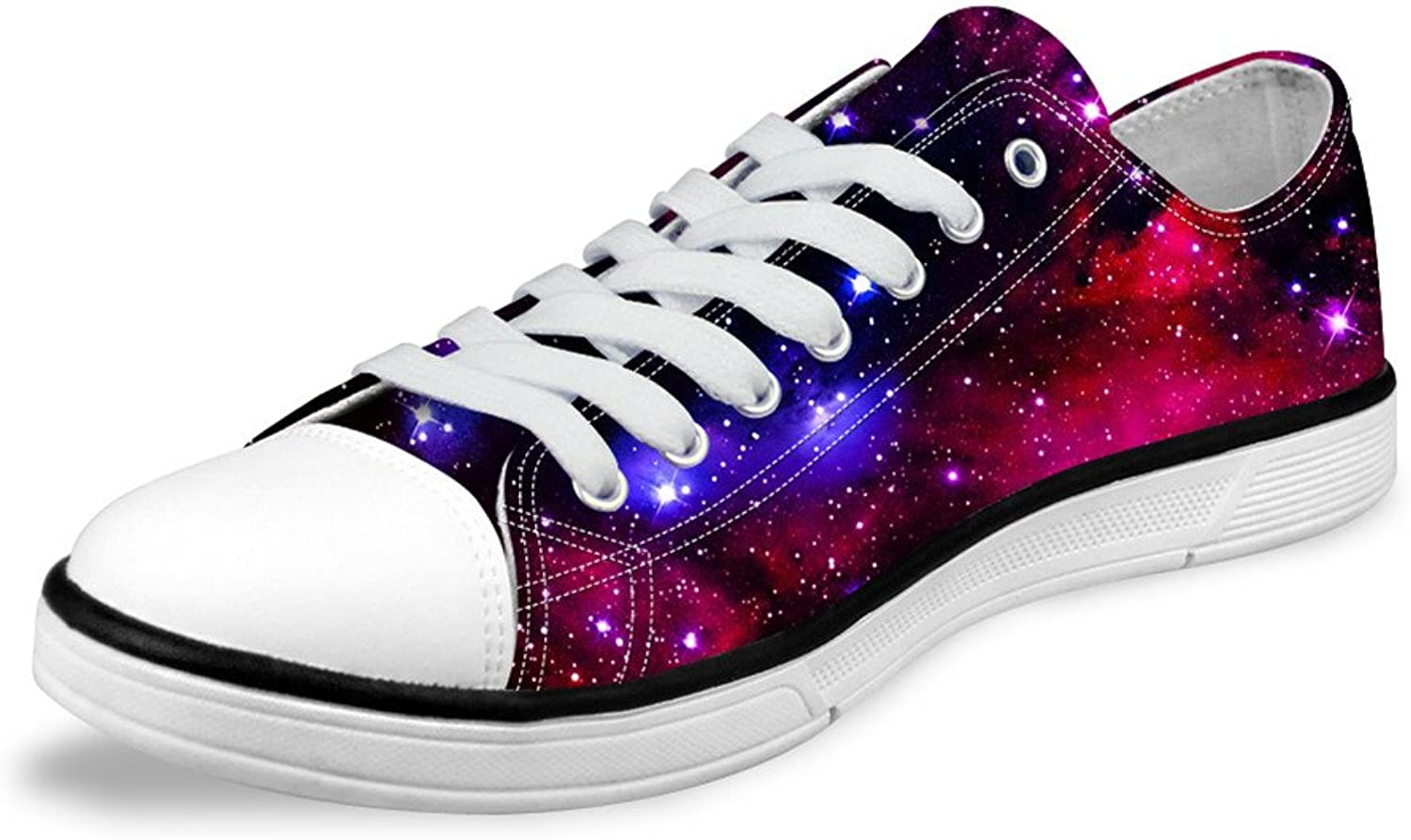 FOR U DESIGNS Red Galaxy Print Low top Comfy Lace-up Canvas Sneaker for Women Lady US 11