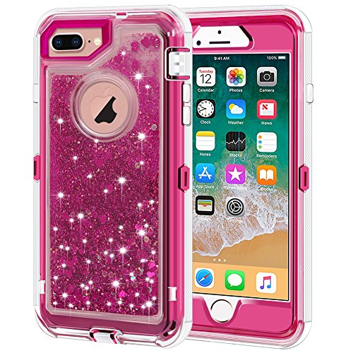 iPhone 8 Plus Case, iPhone 7 Plus Case, Anuck 3 in 1 Hybrid Heavy Duty Defender Case Sparkly Floating Liquid Glitter Protective Hard Shell Shockproof TPU Cover for iPhone 7 Plus /8 Plus - Rose Red