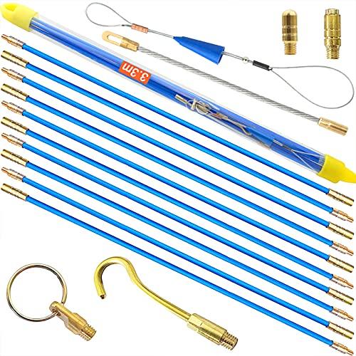 Tire fil électriques 33cm x 10 pièces Jeu de baguettes fibre de verre, Kit rétractable d'installation pour Cable en Boîtier Plastique
