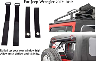 Rear Window Roll Up Snap Straps & Soft Top Sunrider Straps for Jeep Wrangler 2007-2019,Tiedown Straps Adjustable Straps,replaces OEM elastic Straps, durable and won't stretch out