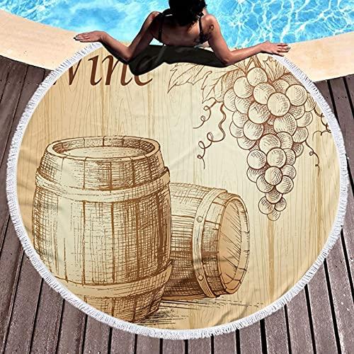 Toalla de playa redonda con flecos para playa, yoga, barriles de madera y racimo de uvas en fondo de madera, diseño de botánica, manta de picnic