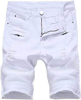 Saoye Fashion Men's Ripped Distressed Short Jeans Denim Short Pants with Hole Clothing Mens Casual Pants Outdoor Casual Su...