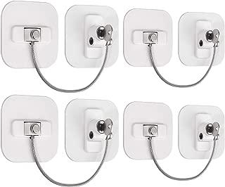 eSynic 4Pcs Fridge Lock Adhesive Refrigerator Door Locks with Key Cable Restrictor Child Safety Cabinet Locks Freezer Doorr Door Latch Wire for Appliances Kitchen Cabinets Fridge Cabinet Drawer White